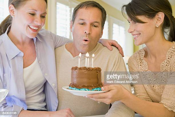 Man celebrating birthday