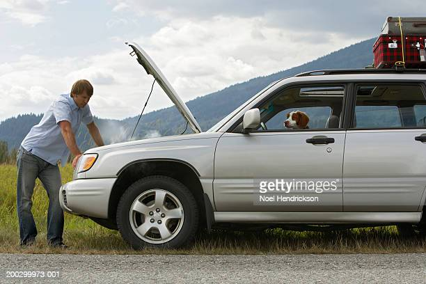 Man checking engine of sports utility vehicle at roadside, side view, spaniel at front window