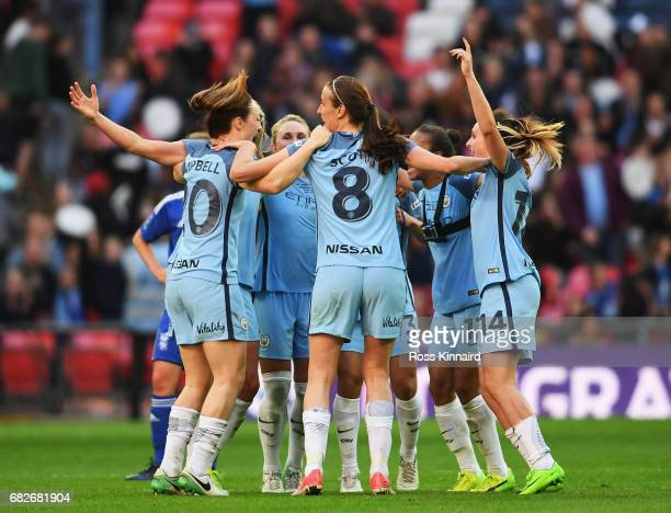 Man City Ladies celebrate their victory after the final whistle after the SSE Women's FA Cup Final between Birmingham City Ladies and Manchester City...
