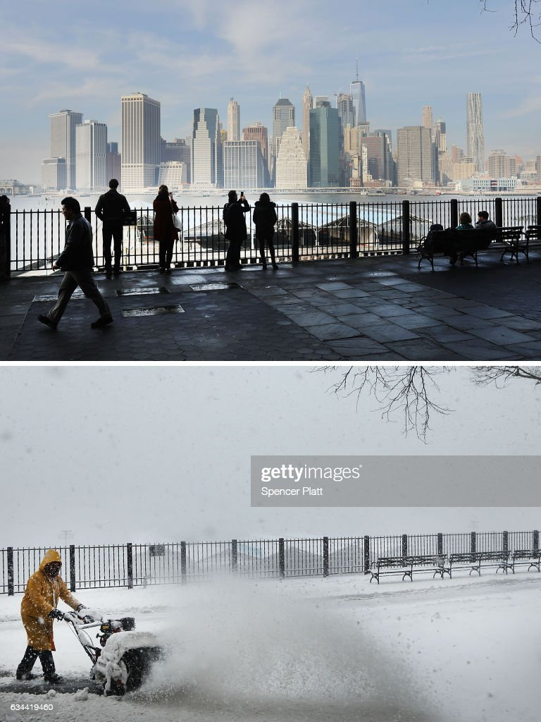 Pedestrians walk in Brooklyn on an unseasonably warm afternoon with temperatures reaching near 60 degrees on February 8, 2017 in New York City. New York City is preparing for a drastic change in weather as up to 10 inches of snow is currently predicted for Thursday. A man clears snow from a walkway on February 9, 2017 in the Brooklyn borough of New York City. A major winter storm warning is forecast from Pennsylvania to Maine with the New York City area expected to receive up to one foot of snow. New York City schools are closed for the day.