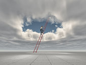 Man climb a ladder to a hole in the sky. This is a 3d render illustration