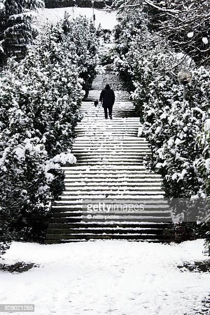 Man climbing snowy stairs