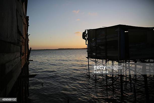 A man climbs down the side of a stilted house while making repairs in the traditional fishing community of Sao Francisco where some residents live in...