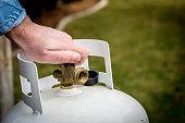Propane tank valve being closed