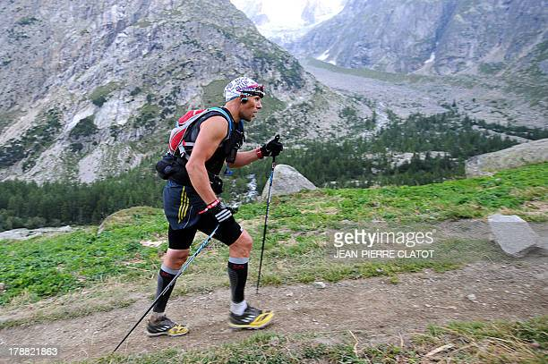 A man competes at the Italian side of the Col Ferret during the Ultra Trial race the 11th edition the Ultra Trial race a 168 km race around the Mont...