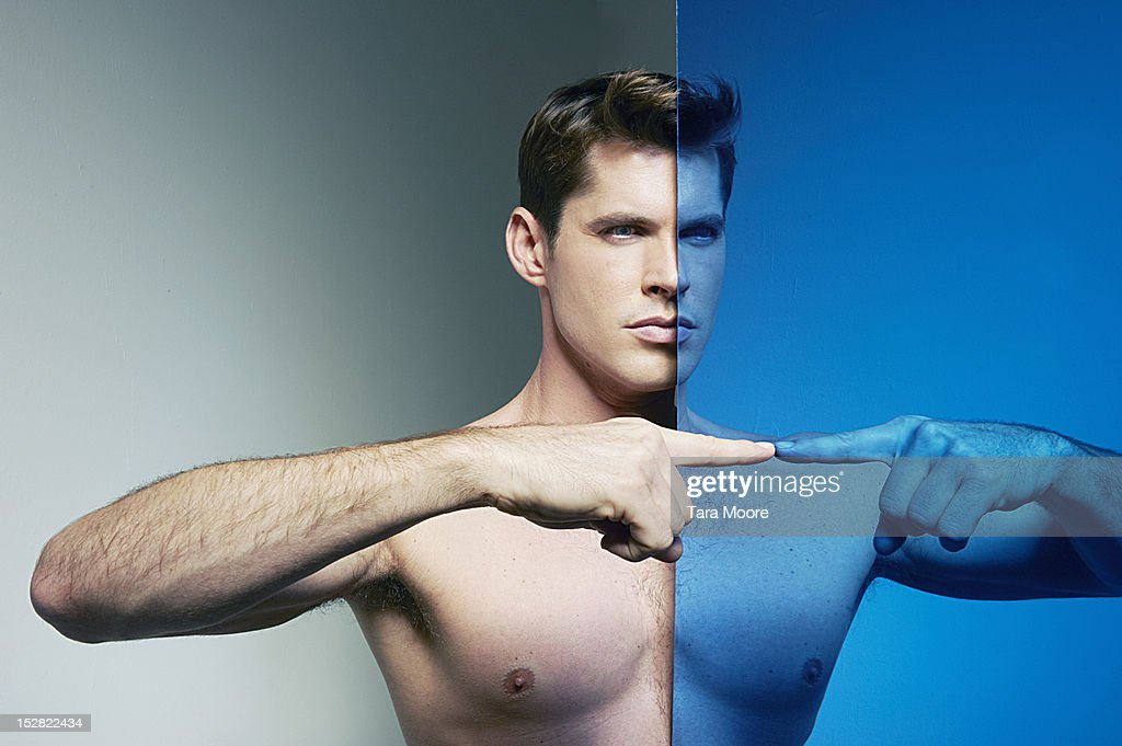 man connecting fingers : Stock Photo