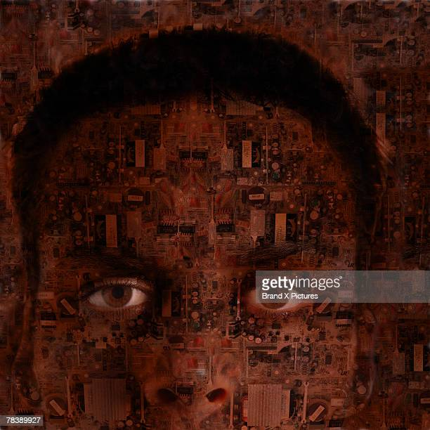 Man covered in circuits