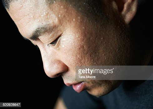man covered in sweat