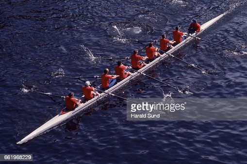 8 man crew shell competitive rowing race.