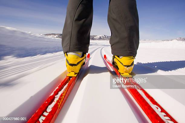 Man cross country skiing, low section, rear view