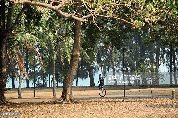 A man cycles on a monowheel along a driedup area at East Coast park in Singapore on March 13 2014 Singapore is facing its longest ever dry spell of...