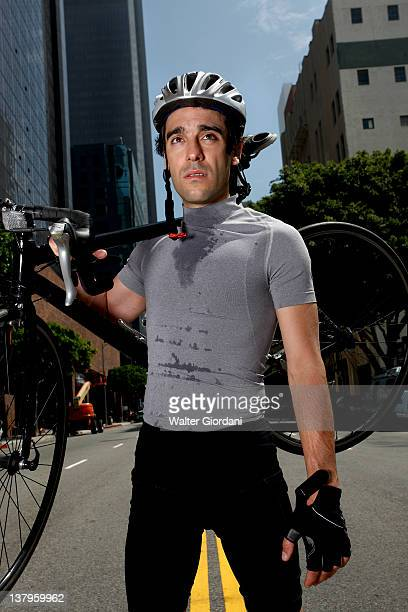 Man cycling through the city