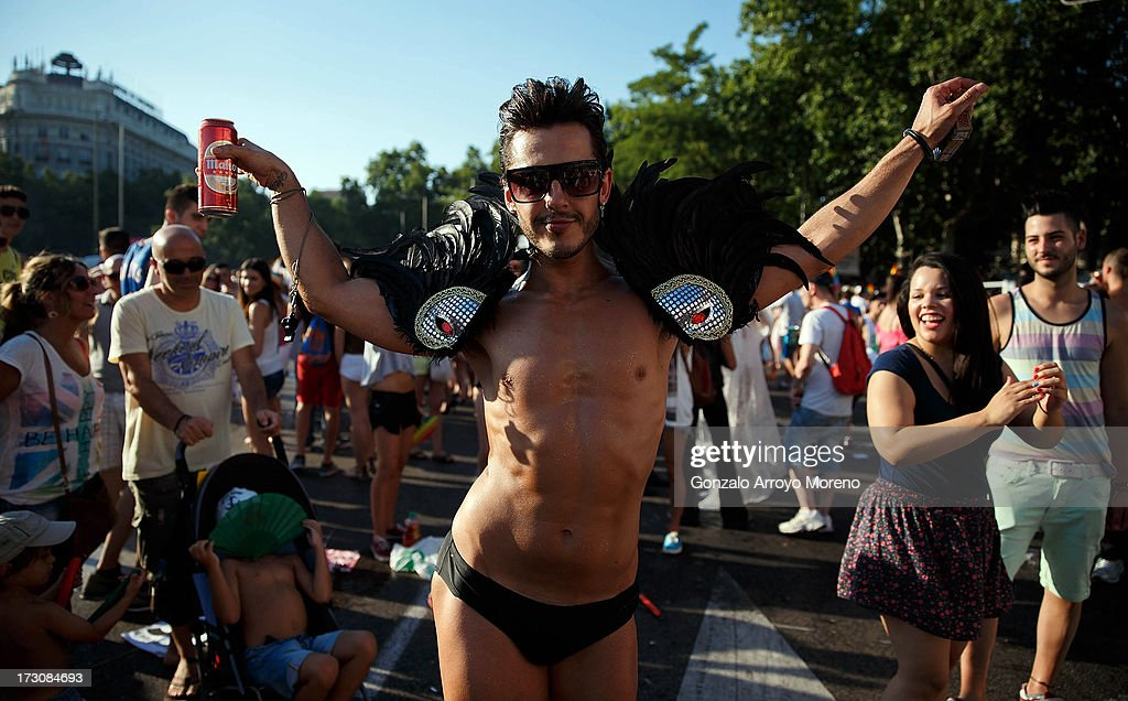 A man dances during the Madrid Gay Pride Parade 2013 on July 6, 2013 in Madrid, Spain. According to a new Pew Research Center survey about homosexual acceptance around the world, Spain tops gay-friendly countries with an 88 percent acceptance rate.