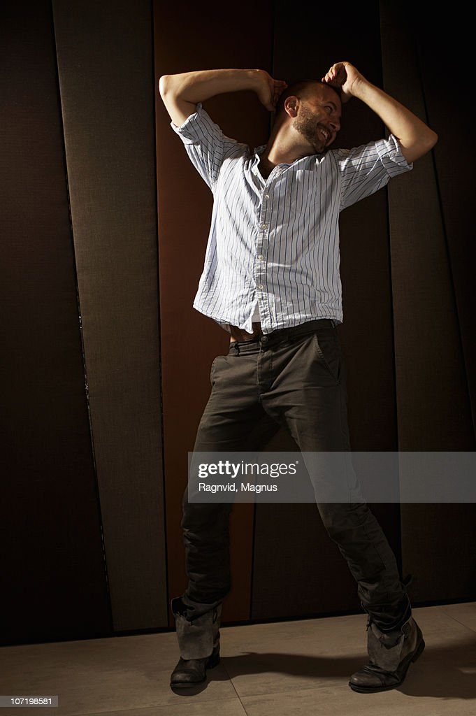 Man dancing alone : Stock Photo