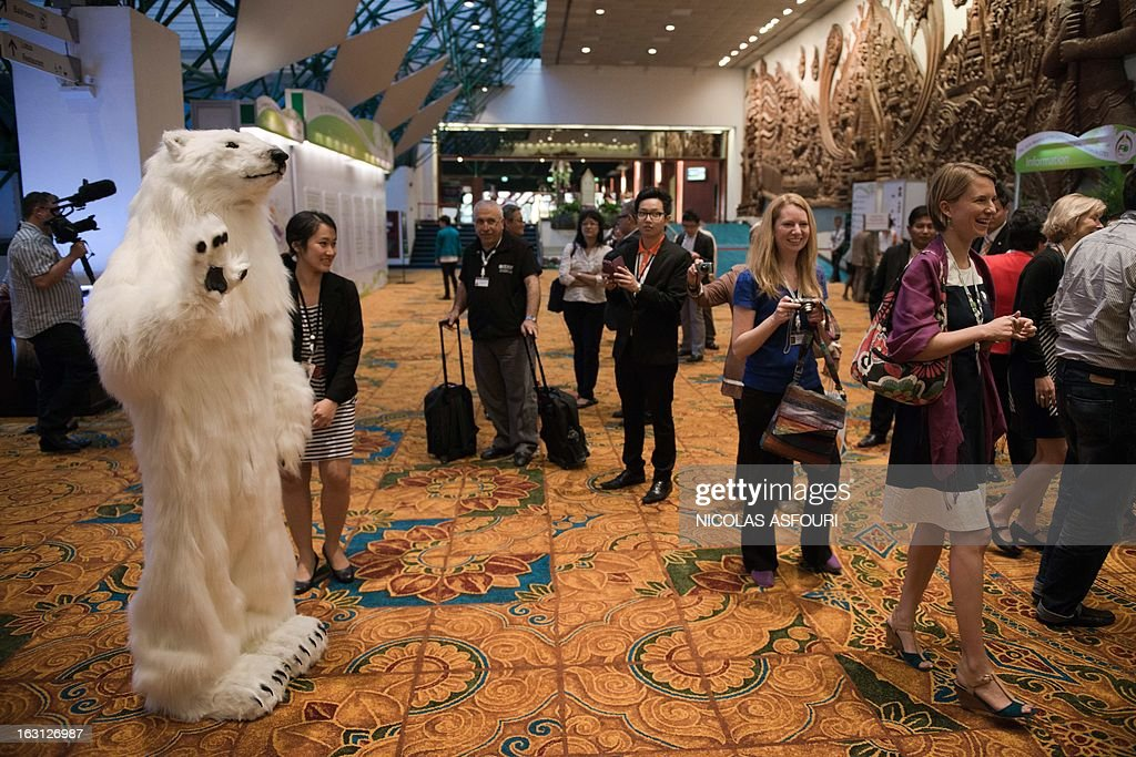 A man disguised as a bear waves to people to invite them to pose for photographs and come to a cocktail and photo exhibition, held by Russia and international NGO's at the Convention on International Trade in Endangered Species (CITES) in Bangkok on March 5, 2013. Global conservationists converged on Bangkok on March 3 for the start of endangered species talks, as host Thailand was forced onto the defensive over the rampant smuggling of ivory through its territory. AFP PHOTO/ Nicolas ASFOURI