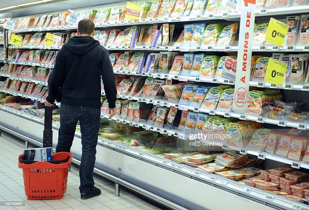 A man does his shopping in a supermarket Auchan on December 27, 2012 in Saint-Sebastien-sur-Loire, western France.