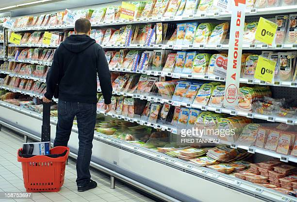 A man does his shopping in a supermarket Auchan on December 27 2012 in SaintSebastiensurLoire western France AFP PHOTO / FRED TANNEAU