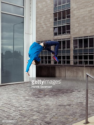 Man doing a backflip