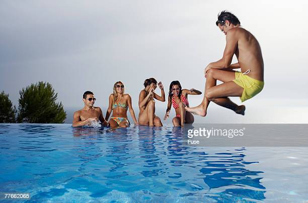 Man Doing a Cannonball
