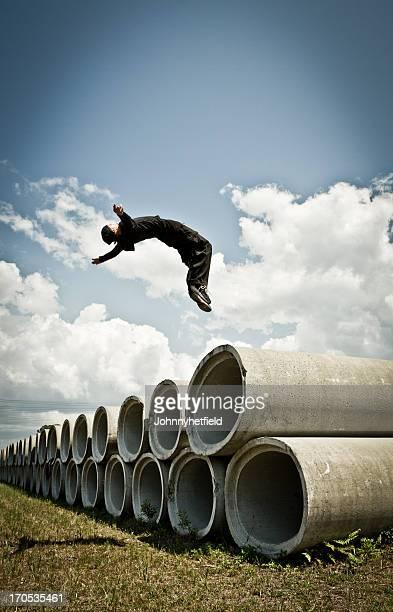 Man doing backflip