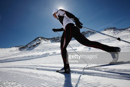 man doing cross-country skiing