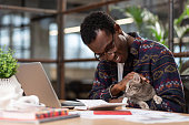 Having a pet. A man doing his office tasks with a cat in his hands