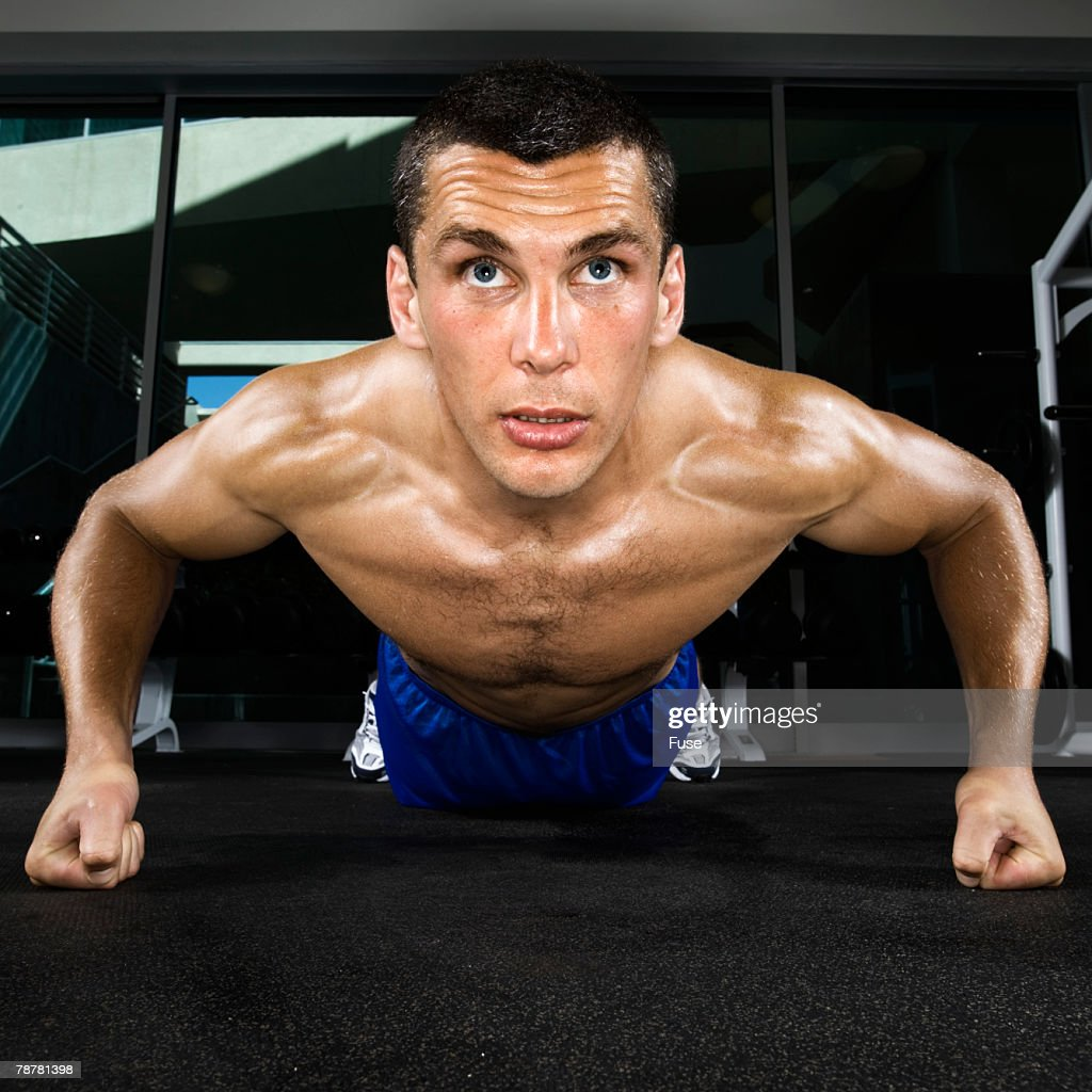 Man Doing Pushups on Knuckles : Stock Photo