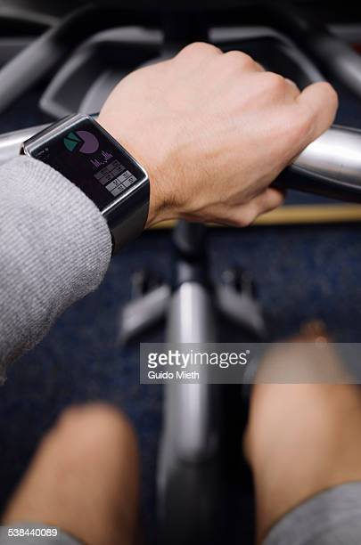 Man doing sport with smartwatch.