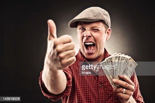 Man doing thumbs up : Bildbanksbilder