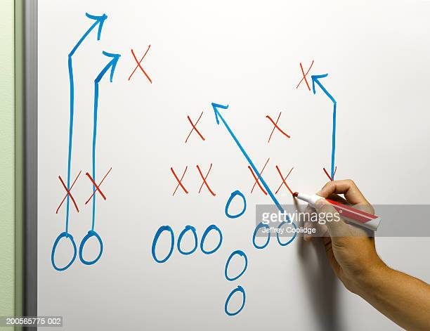 Man drawing football play diagram on whiteboard, close-up