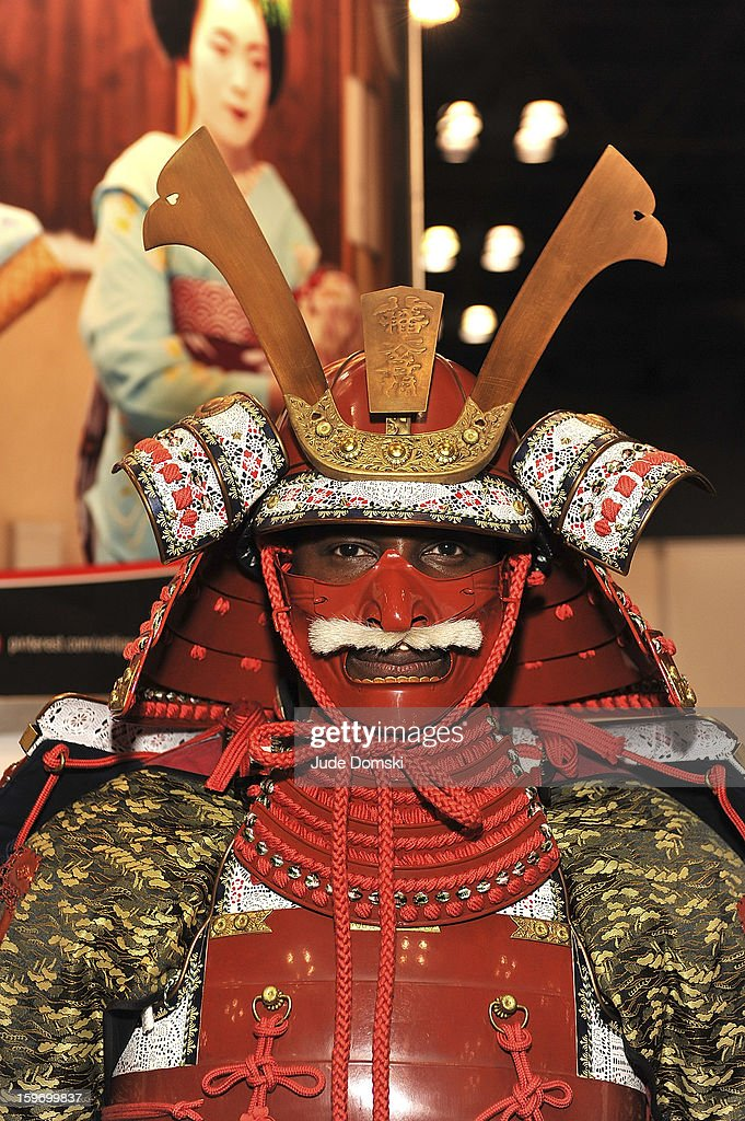 Man dressed as a Japanese Samurai at the 10th Annual New York Times Travel Show Ribbon Cutting And Preview at Javits Center on January 18, 2013 in New York City.