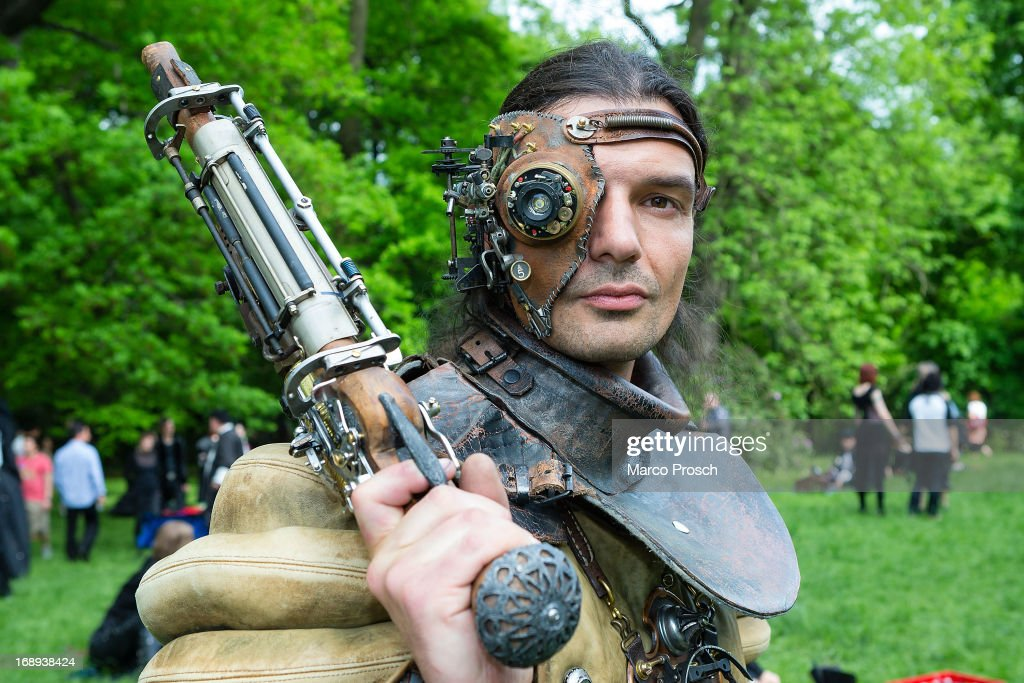 A man dressed as a steam-punk attends the traditional park picnic on the first day of the annual Wave-Gotik Treffen, or Wave and Goth Festival, on May 17, 2013 in Leipzig, Germany. The four-day festival, in which elaborate fashion is a must, brings together over 20,000 Wave, Goth and steam punk enthusiasts from all over the world for concerts, readings, films, a Middle Ages market and workshops.