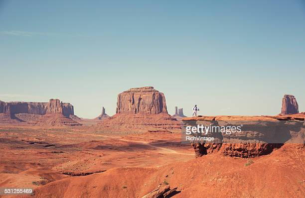 Man dressed as Daredevil in the Desert of Monument Valley