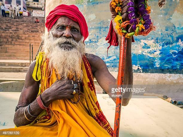 Man dressed as holy sadhu in Varanasi.