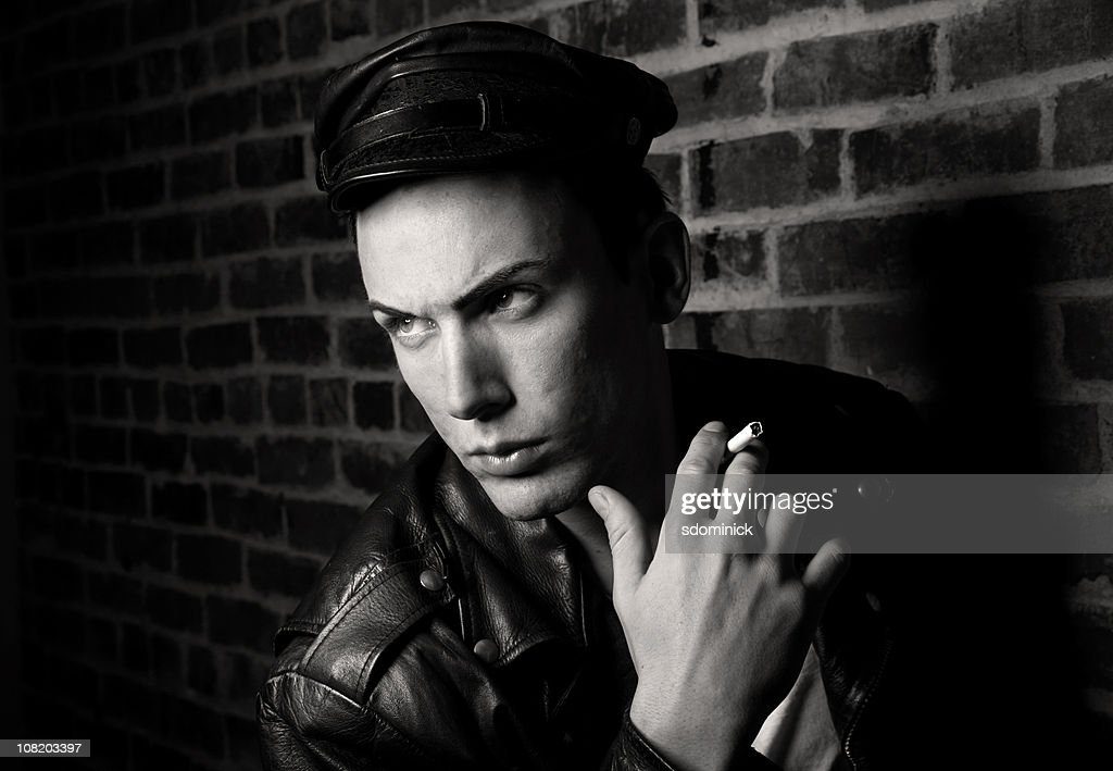 Man Dressed As James Dean Character : Stock Photo