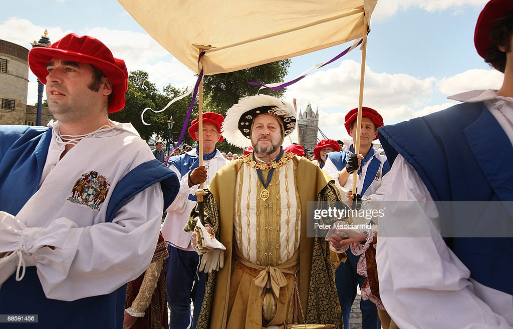 A man dressed as King Henry VIII processes to the River Thames at The Tower of London on June 20, 2009 in England. A weekend of events are being held to mark the 500th anniversary of the coronation of King Henry the VIII in 1509. The Tudor river pageant will end at Hampton Court Palace west of London.