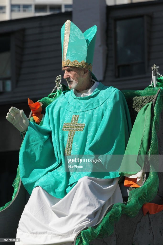 Man dressed as Saint Patrick during the St. Patrick's Day Parade in Toronto, Ontario, Canada, on March 19, 2017.