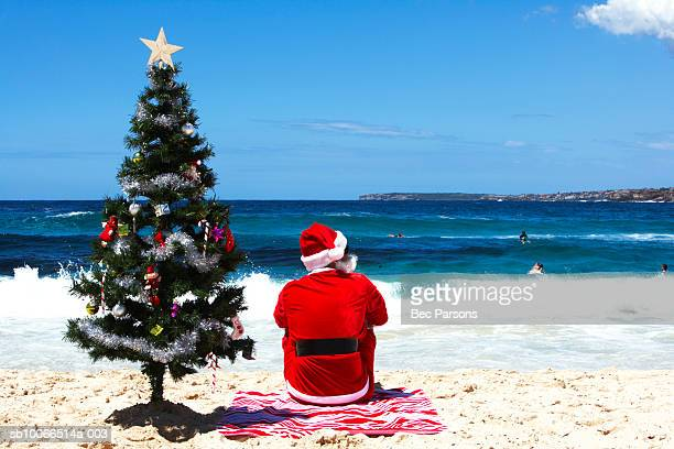 Man dressed as Santa Claus sitting by Christmas tree on beach, rear view