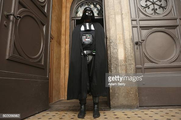 A man dressed as the Star Wars character Darth Vader arrives for a church service centered around the 1983 film 'Star Wars Episode VI Return of the...