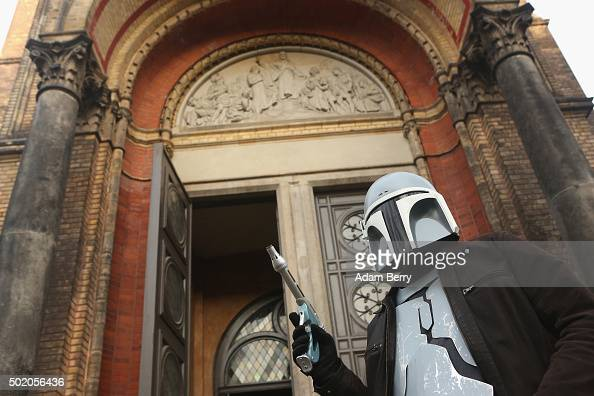 A man dressed as the Star Wars character Jango Fett arrives for a church service centered around the 1983 film 'Star Wars Episode VI Return of the...