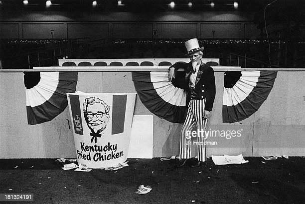 A man dressed as Uncle Sam stays behind after a Republican Convention has left an auditorium in Miami Beach circa 1972