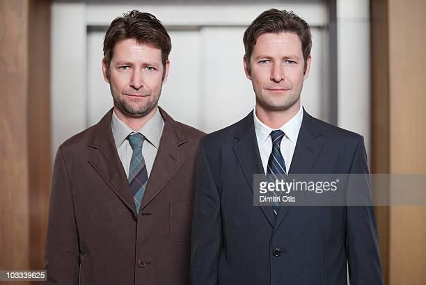 Man dressed badly next to himself smartly dressed