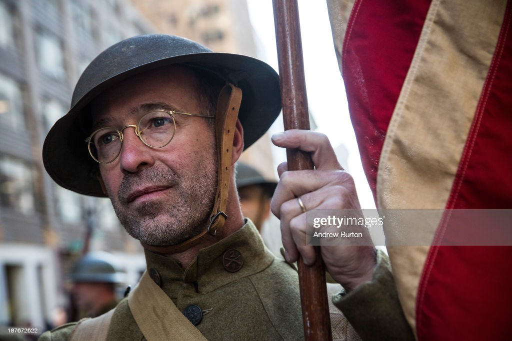 A man dressed in traditional World War One military attire marches in the Veteran's Day Parade on November 11, 2013 in New York City. The parade included members of all four branches of service, as well as members of the Fire Department of New York (FDNY), New York Police Department (NYPD) and veterans from all major conflicts that the United States has been involved with since World War Two.
