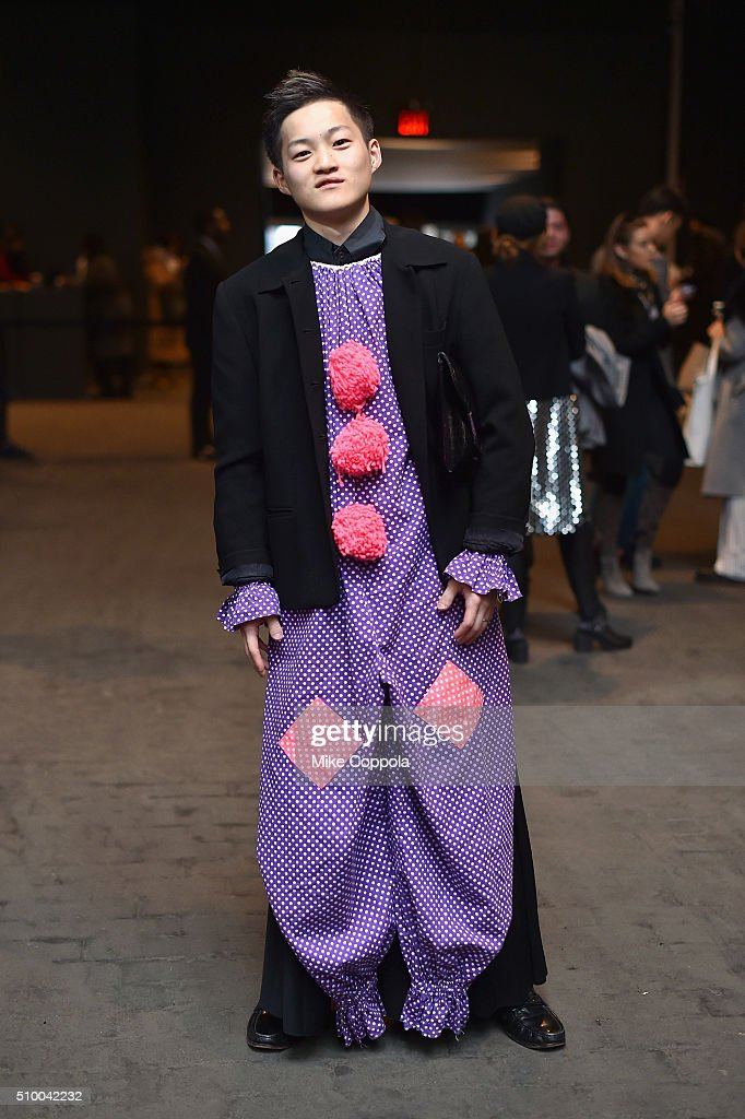 A man dresses as a clown during Day 3 of New York Fashion Week: The Shows at Skylight at Moynihan Station on February 13, 2016 in New York City.