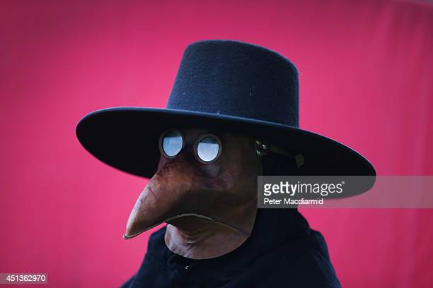 A man dresses as a plague doctor at the Bannockburn Live event on June 28 2014 in Stirling Scotland The 700th anniversary of the historic battle that...