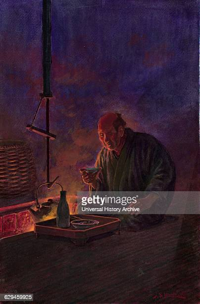 Man drinking sake before the hearth Drawing of watercolour on paper Print is of an old man seated next to a sunken hearth drinking sake with his meal