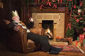 Man drinking sherry at Christmas