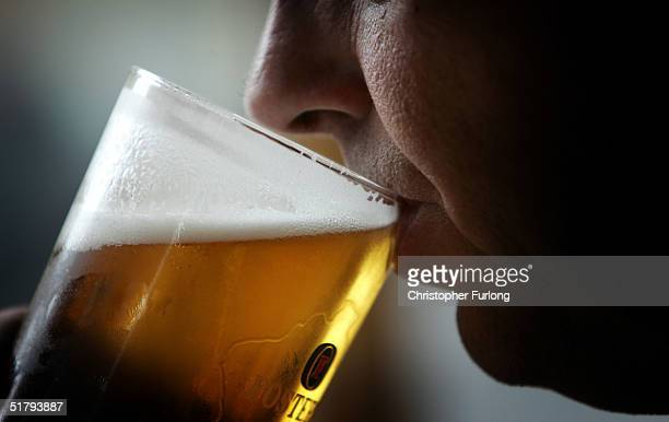 A man drinks a pint of beer on November 26 2004 in Glasgow Scotland The Scottish Executive has announced a major campaign designed to call time on...