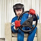 man driving at home