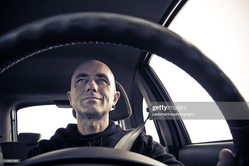 Man driving car : Stock Photo
